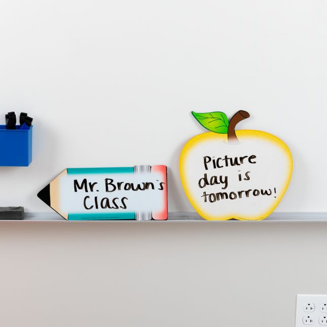 Shaped Dry Erase Boards – Apple And Pencil - 2 dry erase boards