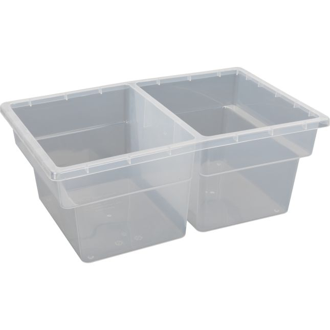 Two-Compartment All-Purpose Bin  Single - Clear