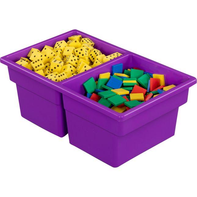 Two-Compartment All-Purpose Bin  Single - Purple