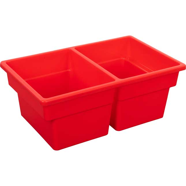 Two-Compartment All-Purpose Bin  Single - Red