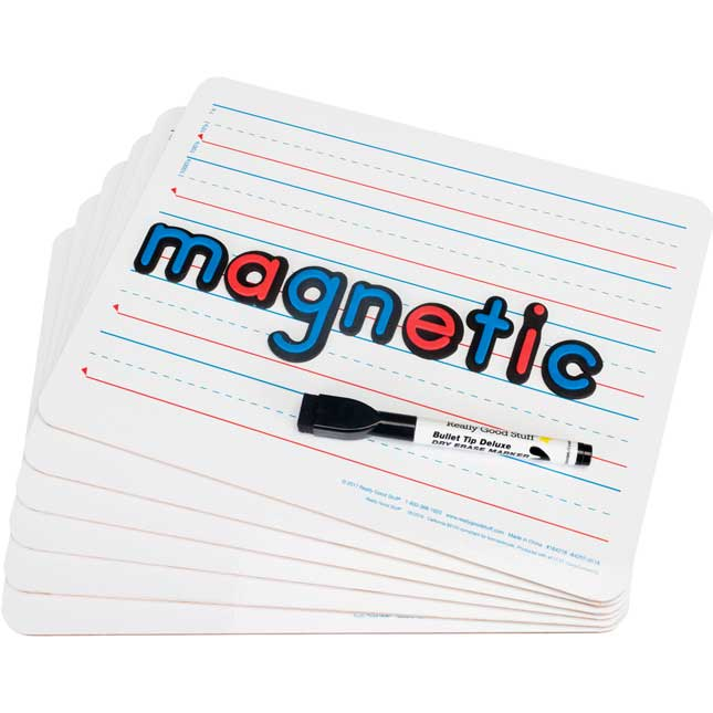 "12"" X 9"" Two-Sided Magnetic Primary-Lined Dry Erase Boards - Set Of 12"