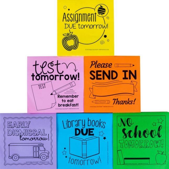School-To-Home Sticky Note Reminders  6 Pack  600 Pages