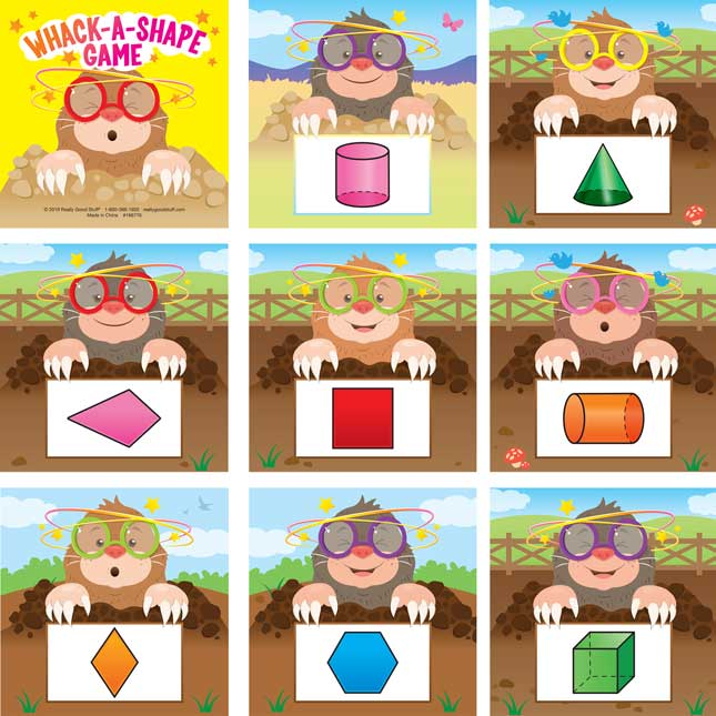 Whack-A-Shape Game - Visual, Tactile and Auditory Learning for Shape Identification - Pre-K, Kindergarten, 1st Grade - 1 game