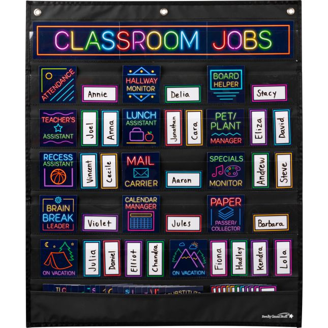 Classroom Jobs Pocket Chart Cards  Neon