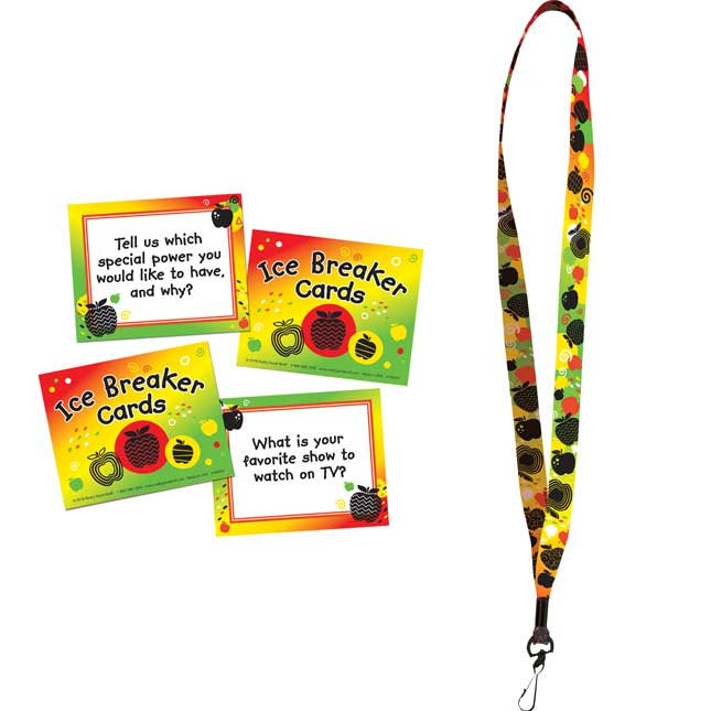 Apple Motif Icebreaker Cards And Lanyard