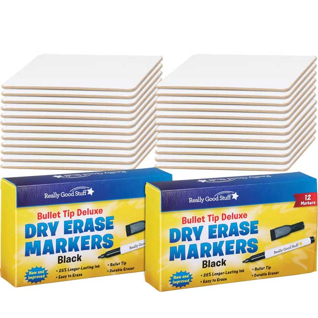 "9"" X 6"" Mini-Magnetic Dry Erase Boards – Set Of 24 Boards & 24 Markers"