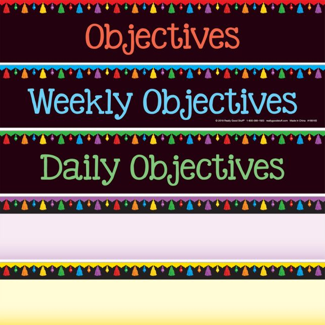 Daily Objectives Pocket Chart & Cards - Black