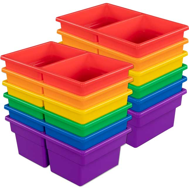 Two-Compartment All-Purpose Bins – 6 Colors – Set Of 12