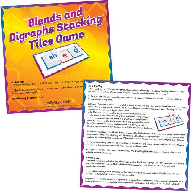 Blends And Digraphs Stacking Tiles Game