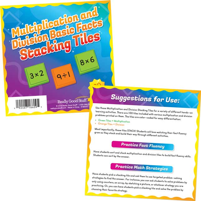 Multiplication And Division Basic Facts Stacking Tiles - 100 tiles