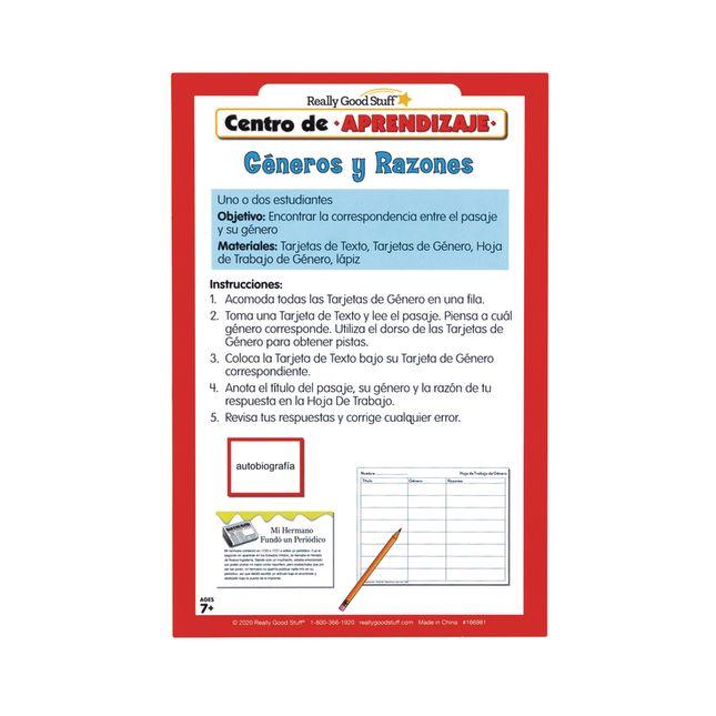 Centro de Aprendizaje: Gneros y Razones ( Literacy Center: Genres and Reasons)