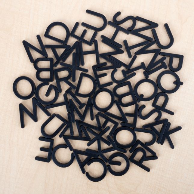 Black Plastic Magnetic Letters Set Uppercase