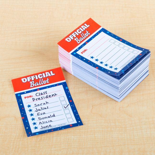 Let's Vote Ballot Box And Ballots - 1 box, 500 ballots