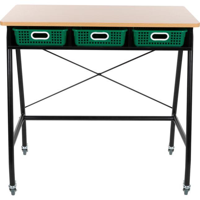 Teacher Standing Desk With Baskets - Green