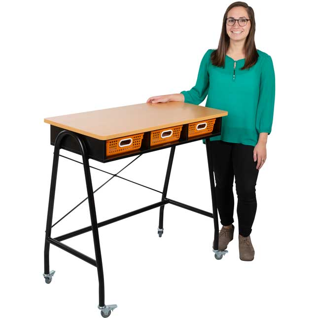 Teacher Standing Desk With Baskets - Pebble