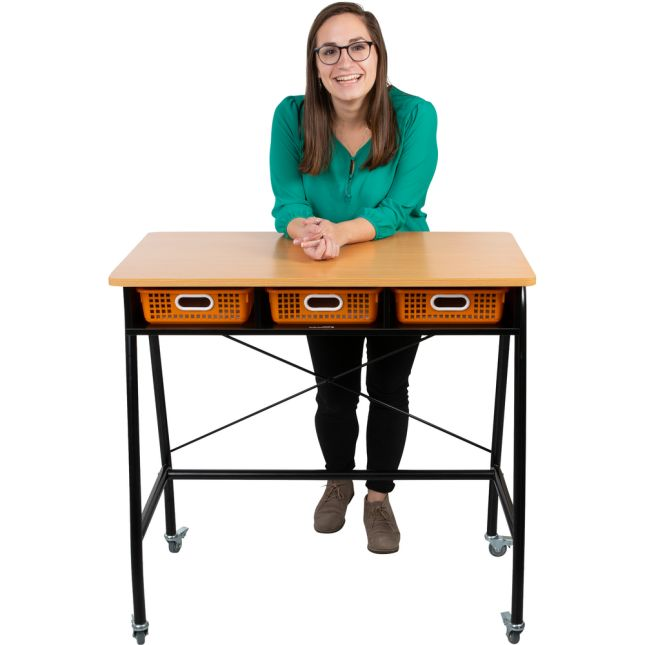 Teacher Standing Desk With Baskets - 1 standing desk, 3 baskets