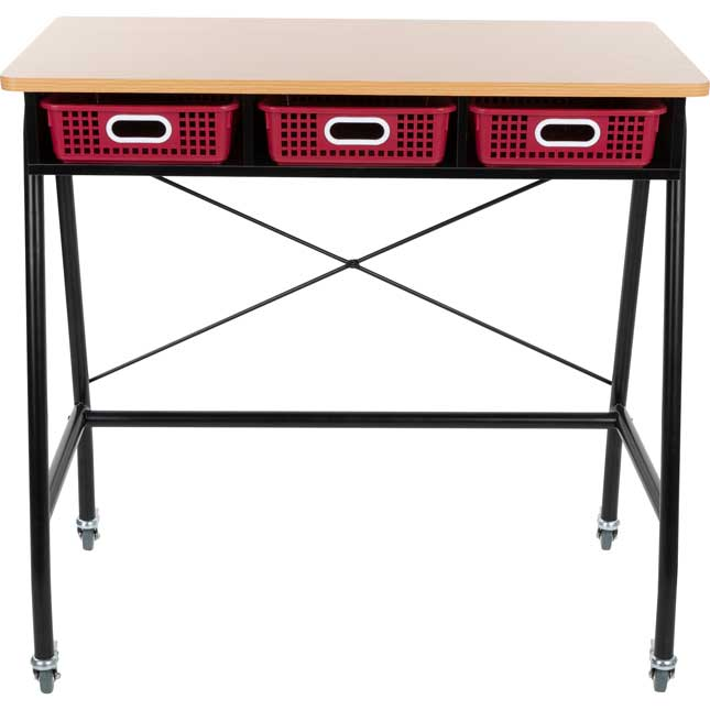 Teacher Standing Desk With Baskets - Royal Red