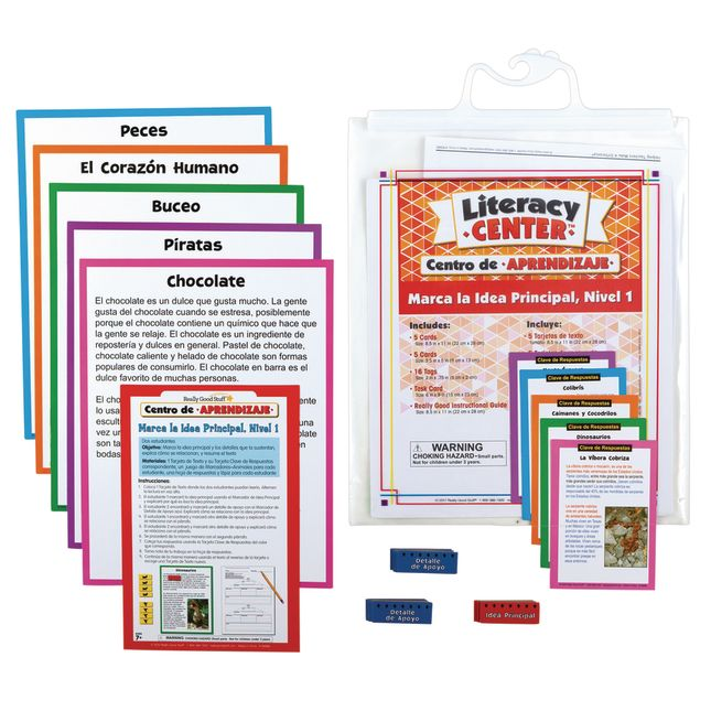 Spanish Main Idea and Supporting Details Sort and Write Level 1 Literacy Center_0