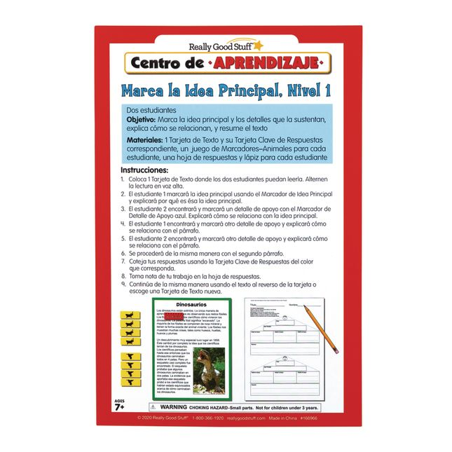 Spanish Main Idea and Supporting Details Sort and Write Level 1 Literacy Center_4