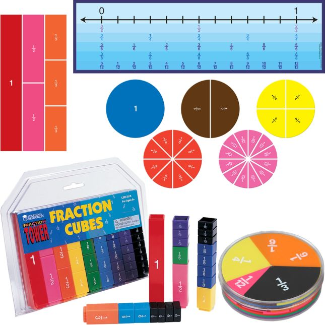 9 Pack Magnetic Rainbow Fraction Circles Manipulatives Class Set for Kids Math