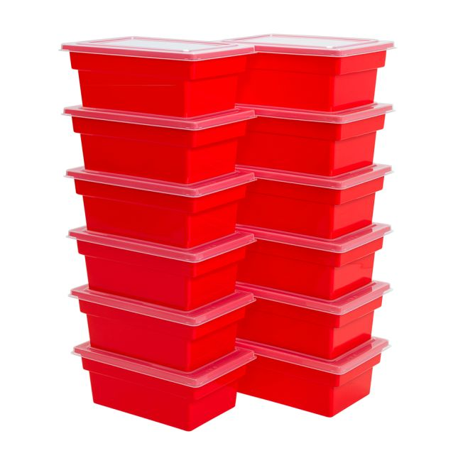 All Purpose Bins And Lids Set Of 12 Single Color   Red