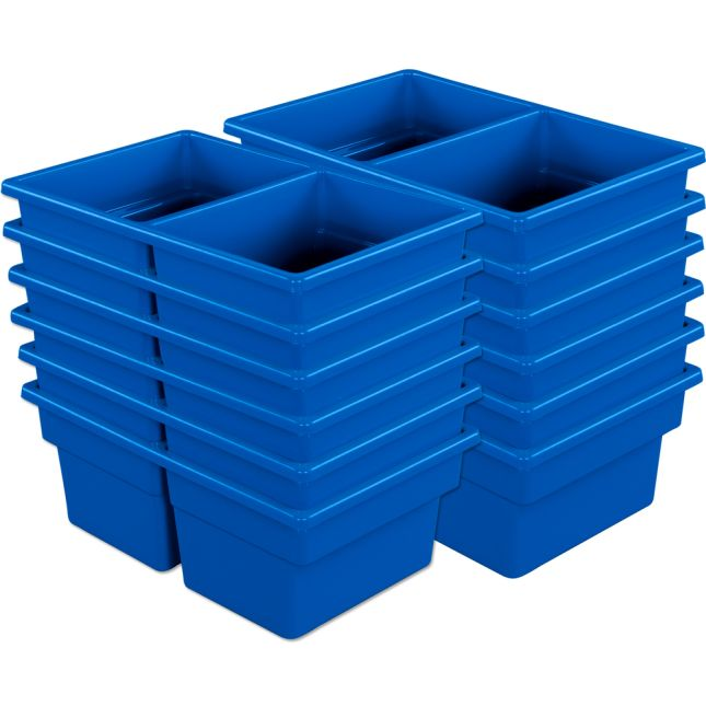 Two-Compartment All-Purpose Bins  Set Of 12  Single Color - Blue