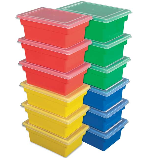 All Purpose Bins And Lids Set Of 12 4 Colors