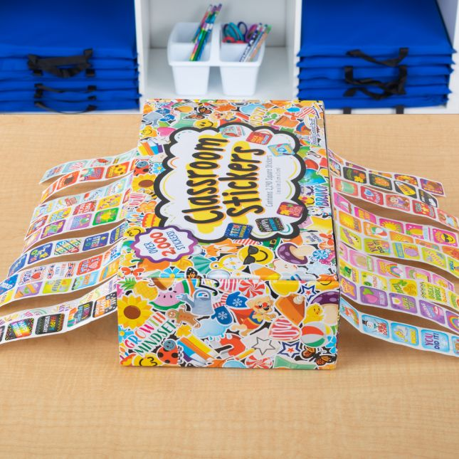 Classroom Stickers And Storage Box  2,240 Stickers - 2,240 stickers, storage box