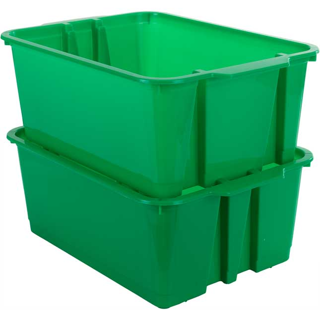 Classroom Stacking Bins – Go Green – Set Of 6