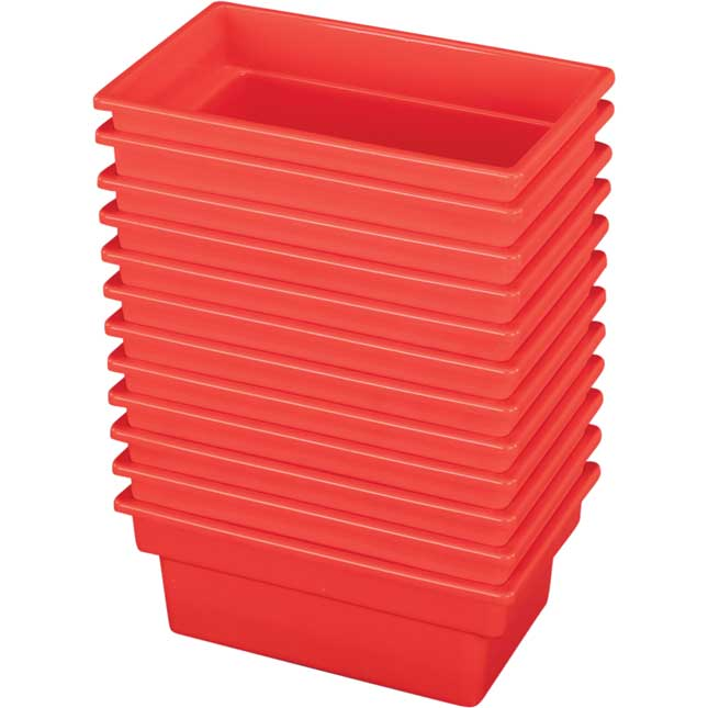 Small All Purpose Bins Set Of 12 Single Color   Red