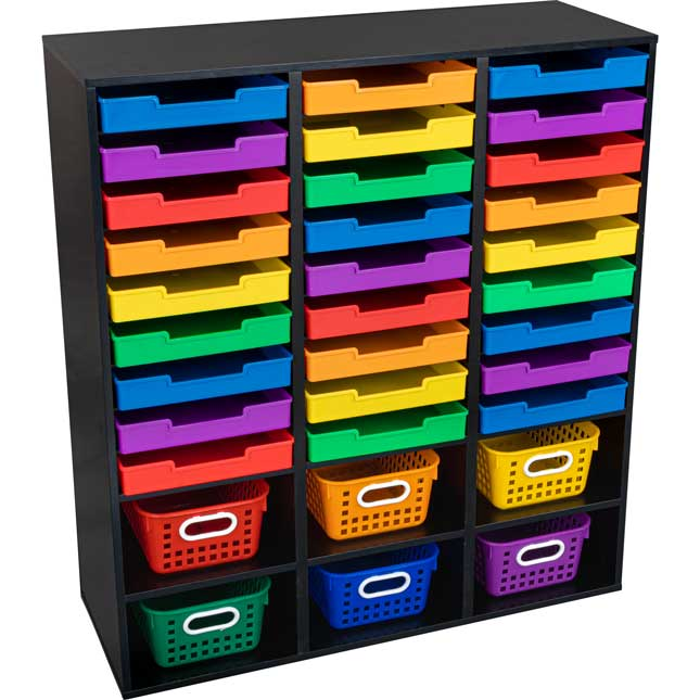27 Slot Mail And Supplies Center With 6 Cubbies   Black