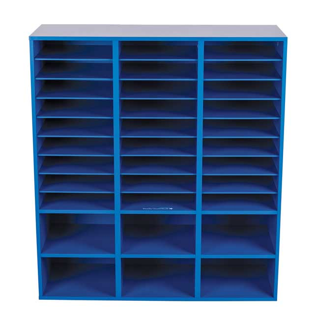 27 Slot Mail And Supplies Center With 6 Cubbies   Blue