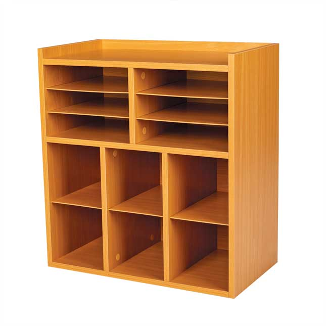 6 Slot Mail And Supplies Center With 6 Cubbies   Oak