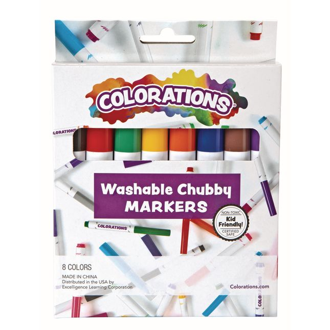 Colorations Washable Chubby Markers  Set of 8