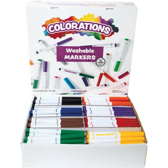 Colorations Washable Classic Markers Classroom Pack Set of 200