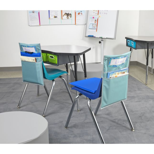 Store More® Dual Storage Deep Pocket Chair Pocket with Sit Upon- Calm and Cool Colors - Set of 6
