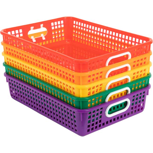 Classroom Paper Baskets – 5 Group Colors – Set Of 5