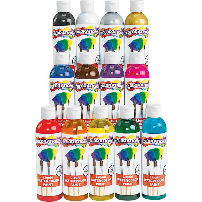 Colorations Classic Colors Liquid Watercolor Paints, 8 oz Set of 13