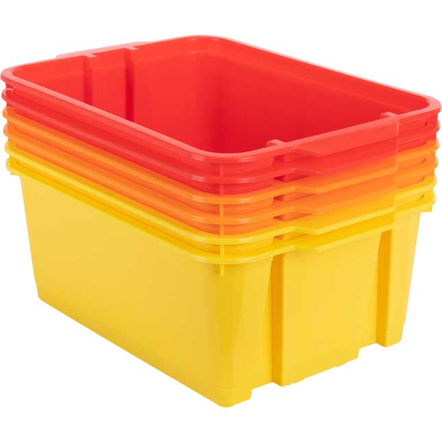 Classroom Stacking Bins – 3 Group Colors – Set Of 6