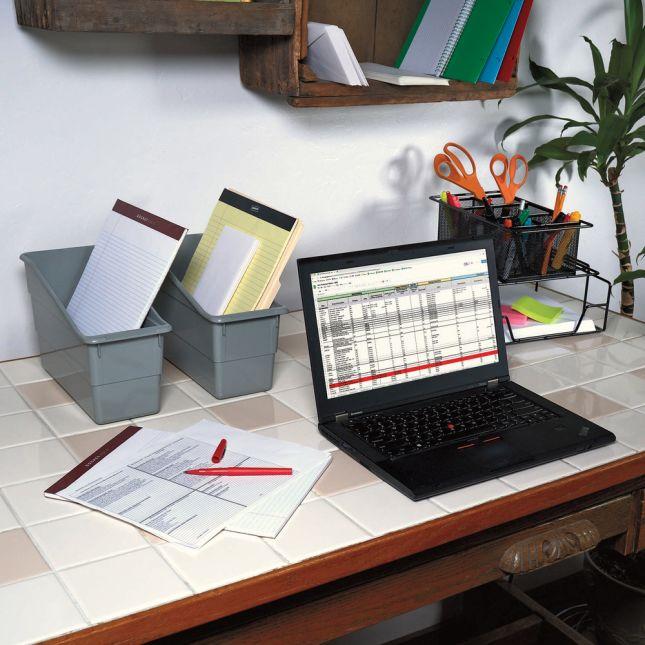 Single Color Plastic Storage Bins Set Of 4   Gray