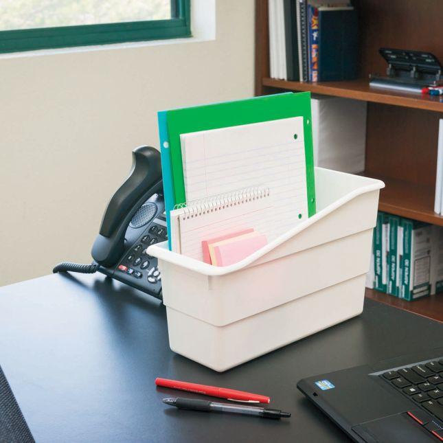 Single Color Plastic Storage Bins Set Of 4   White