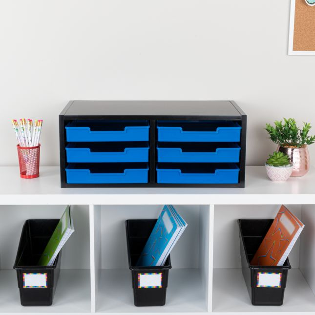 Black 6-Slot Mail Center With Trays  Single Color - 1 mail center, 6 trays, 6 labels