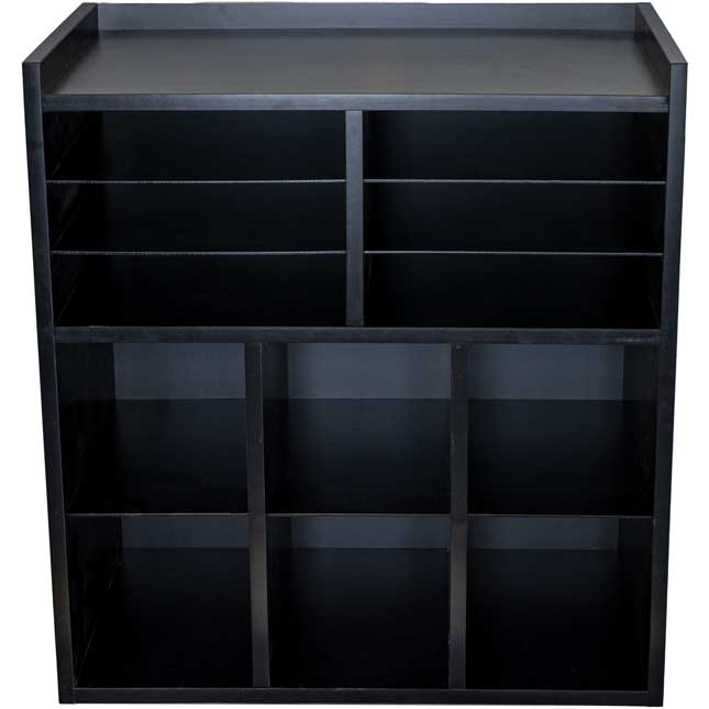 Black 6 Slot Mail And Supplies Center With 6 Trays 6 Cubbies And 6 Bins Grouping