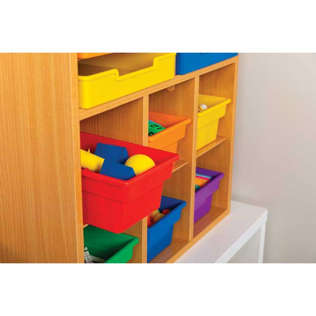 Oak 6 Slot Mail And Supplies Center With 6 Trays 6 Cubbies And 6 Bins Grouping