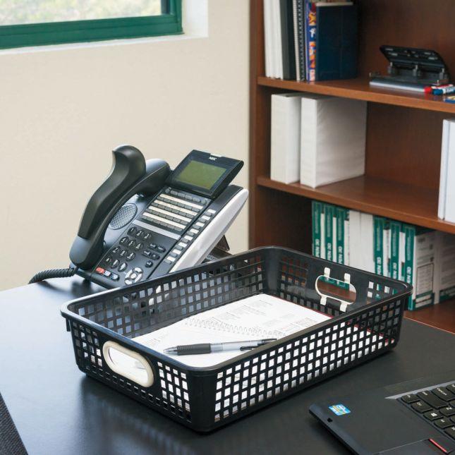 Single Color Plastic Baskets Set Of 6   Black