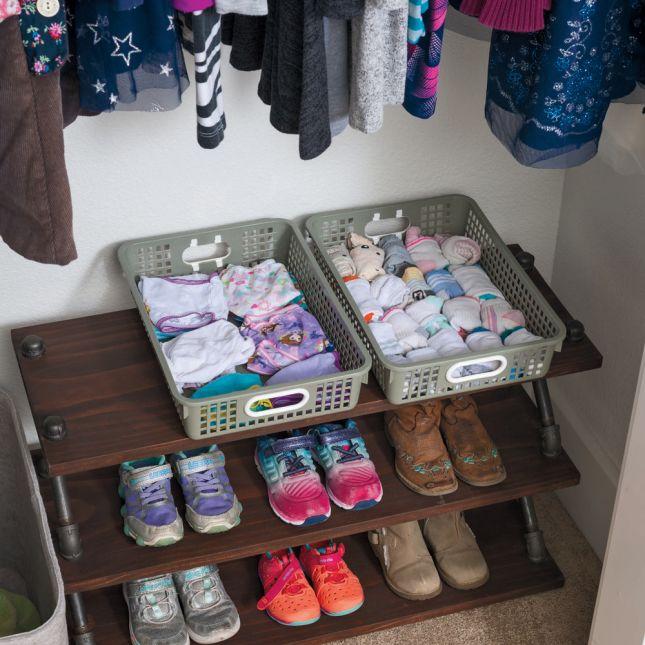 Single Color Plastic Baskets Set Of 6   Gray