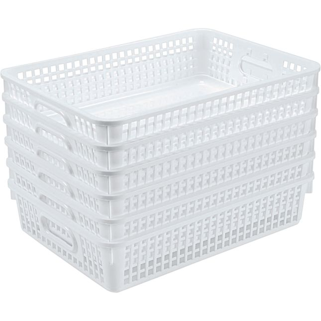 Single Color Plastic Baskets Set Of 6   White