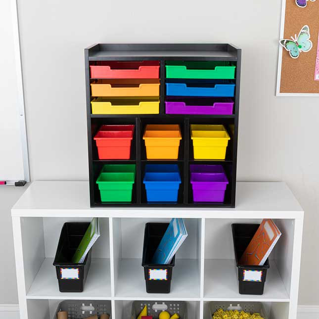 Black 6 Slot Mail Center With 6 Trays 6 Cubbies And 2 Compartment Bins   Grouping