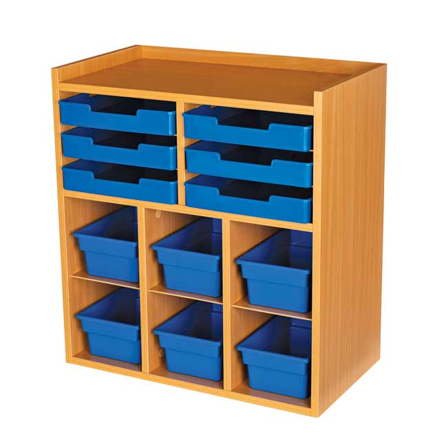 Oak 6 Slot Mail And Supplies Center With 6 Trays 6 Cubbies And 6 Bins Single Color   Blue
