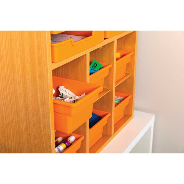 Oak 6 Slot Mail And Supplies Center With 6 Trays 6 Cubbies And 6 Bins Single Color   Orange